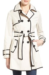 Women's Betsey Johnson Piped Double Breasted Trench Coat Rain Black