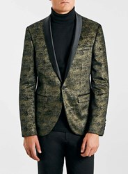Topman Noose And Monkey Gold Velvet Blazer Metallic