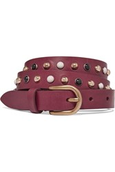 Isabel Marant Kinley Studded Leather Belt Burgundy