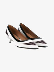 Marni Leather Mid Heel Pumps White Multi Coloured Burgundy Black Brown