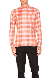 Lanvin Contrast Pocket Shirt In Orange Checkered And Plaid Orange Checkered And Plaid