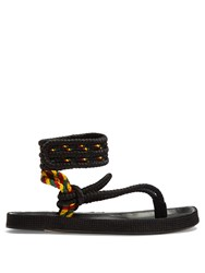 Isabel Marant Epipa Plaited Canvas Velcro Fastening Sandals Black Multi