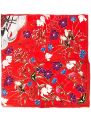 Alexander Mcqueen Floral Nature Print Scarf Red