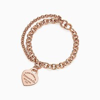 Tiffany And Co. Return To Tiffanytm Double Chain Heart Tag Bracelet In 18K Rose Gold Large. No Gemstone