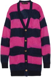 Versace Oversized Striped Textured Knit Cardigan Magenta