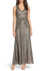Adrianna Papell Women's Beaded Gown Platinum