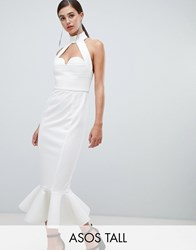 Asos Design Tall Premium Cupped Halter Bodycon Dress With Chain Back Detail White