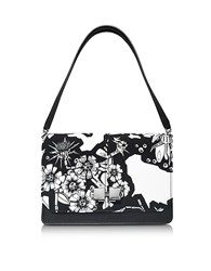 Carven Black And White Printed Leather Shoulder Bag Black White