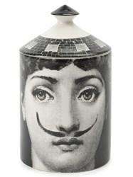Fornasetti Mustache Portrait Lidded Candle Wax China Black