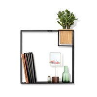 Umbra Cubist Wall Shelf Natural Beech Black Black Neutral
