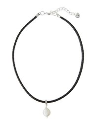 Nakamol Braided Leather Choker W Pearl Coin Charm Black