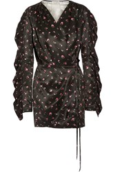 Attico Stevie Printed Silk Satin Wrap Mini Dress Black