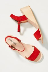 Jeffrey Campbell Brook Wooden Wedge Sandals Red