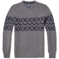 Woolrich Jacquard Crew Knit Medium Grey Melange