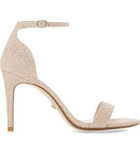 Dune Mortimer Peep Toe Metallic Sandals Blush Fabric