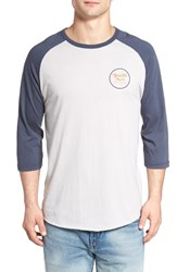 Brixton Men's 'Wheeler' Three Quarter Raglan Baseball T Shirt Stone