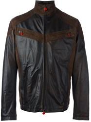 Kiton Zipped Panelled Leather Jacket Brown