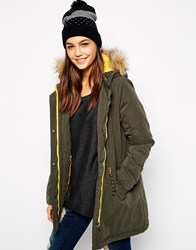 Only Faux Fur Hooded Parka With Contrast Lining Khaki