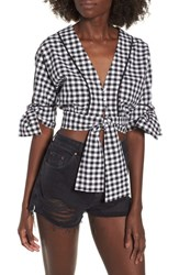 The Fifth Label Idyllic Gingham Tie Crop Top Black W White