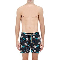 Thorsun Men's Bird And Floral Print Swim Trunks Black Blue Black Blue