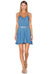Pink Stitch Short Resort Dress Blue