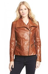 Bernardo Petite Women's Wing Collar Leather Moto Jacket Vintage Cognac