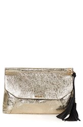 Topshop Metallic Tassel Envelope Clutch Metallic Gold