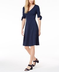 525 America Petite Bow Sleeve Fit And Flare Dress Midnight Blue