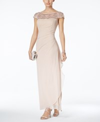 Msk Embellished Ruched Cascade Gown Blush