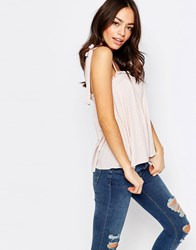 New Look Tie Strap Cami Top Rose Pink