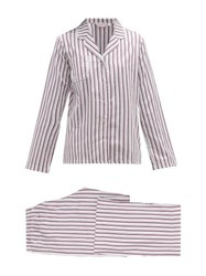 Derek Rose Milly Striped Cotton Twill Pyjamas Pink