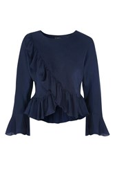 Topshop Tall Ruffle Wrap Blouse Navy Blue