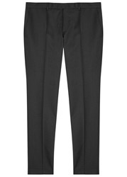Oscar Jacobson Dave Charcoal Slim Leg Wool Trousers Grey