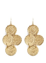 Kenneth Jay Lane Ethnic Coin Charm Gold Plated Drop Earrings Metallic