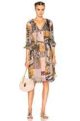 Raquel Allegra Ruffle Neck Swing Dress In Neutrals Gray Pink Abstract Neutrals Gray Pink Abstract