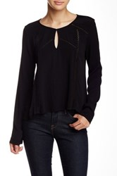 Astr Split Neck Long Sleeve Blouse Black