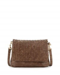 Neiman Marcus Woven Faux Leather Reptile Shoulder Bag Cocoa