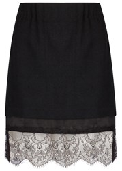 Clu Black Lace Trimmed Twill Skirt