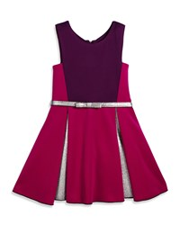 Zoe Sleeveless Belted Colorblock Pleated Dress Berry Pink