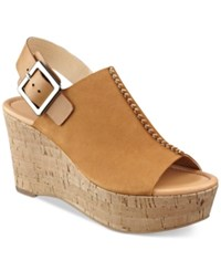 Marc Fisher Sinthya Wedge Sandals Women's Shoes Medium Brown Suede