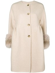 Ermanno Scervino Cuffed Cropped Sleeve Coat Nude And Neutrals