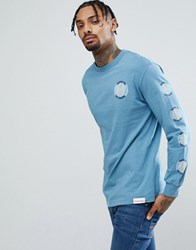 Diamond Supply Co. Long Sleeve T Shirt With Spiral Sleeve Print In Grey Grey