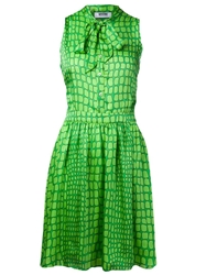 Moschino Cheap And Chic Pussy Bow Collar Dress Green