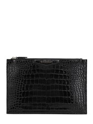 Givenchy Croc Embossed Leather Pouch Black