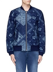 Scotch And Soda Bandana Print Quilted Bomber Jacket Blue