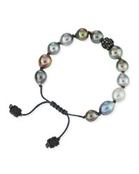 Armenta Old World Tahitian Pearl Pull Cord Bracelet With Champagne Diamonds Yellow Black