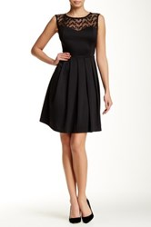 Eva Franco Illusion Yoke Neck Sleeveless Dress Black