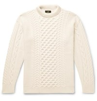 Dunhill Cable Knit Merino Wool Mock Neck Sweater White