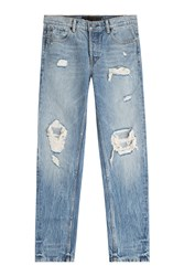 Alexander Wang Distressed Straight Jeans Blue