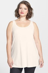 Plus Size Women's Eileen Fisher Long Silk Tank Soft White